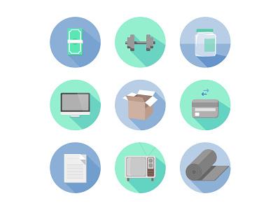 Negotiated Icons design illustration icon yoga tv paper credit box computer jar dumbbell money