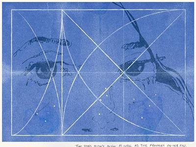 Old sketch poem map star eye illustration