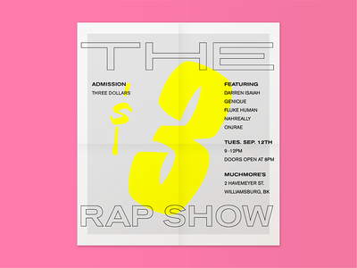 The $3 Rap Show dope show three gig rap poster lettering