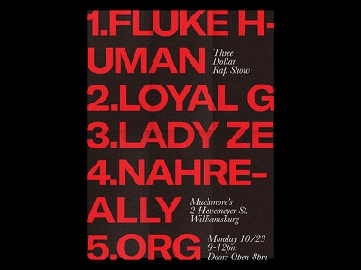 $3 Rap Show red typography rap music poster