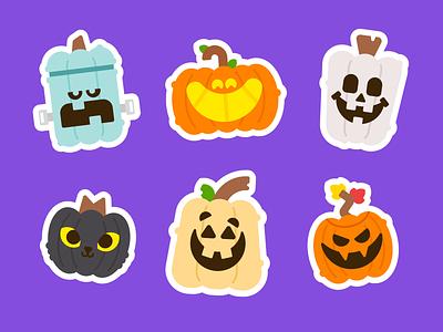 Pumpkin Stickers sticker sheet skeleton black cat frankenstein jackolantern pumpkin halloween