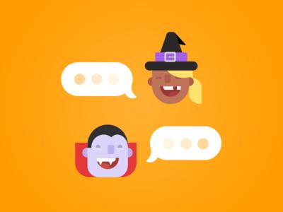Duolingo Bots Halloween Characters learning languages halloween characters illustrations bots duolingo app