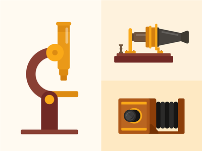 Tiny Inventions inventions flashcards flat illustrations