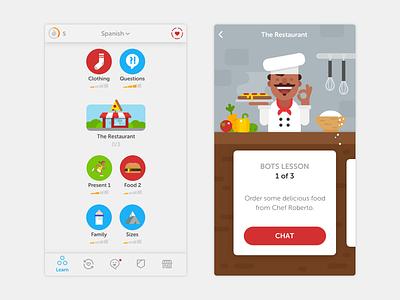 Duolingo Bots Lesson chat language character bots