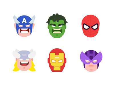 The Avengers character design hawkeyes iron man thor spider-man the hulk captain america flat illustration comic