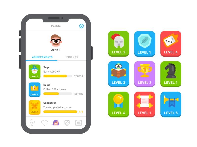 New Duolingo Achievements profile badges achievements
