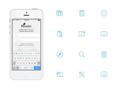 Thin icon set for Sony Reader iOS app