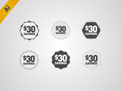 Badges HiDPI, 2x, Ai CS6 Freebie badges badge seal seals starburst icon