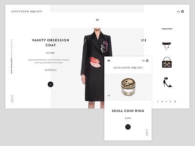 Alexander McQueen white mcqueen clean webdesign concept shop