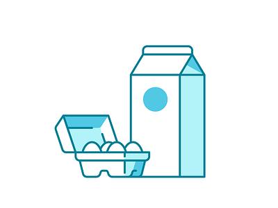 Grocery Icons 039/100 eggs milk dailyicon shadow vector design illustration icon minimal
