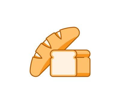 Grocery 040/100 food bake bread dailyicon design vector illustration shadow icon minimal