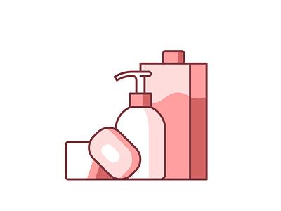 Hygiene 044/100 sanitizer refill soap hand soap vector illustration design shadow icon minimal