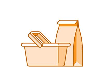 Grocery 047/100 paper bag basket grocery vector illustration design shadow icon minimal