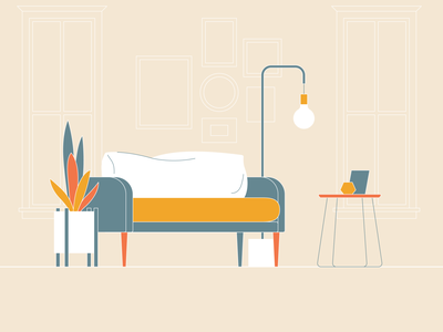 living space 02 tea table light plant couch living space livingroom dailyicon vector illustration design icon minimal