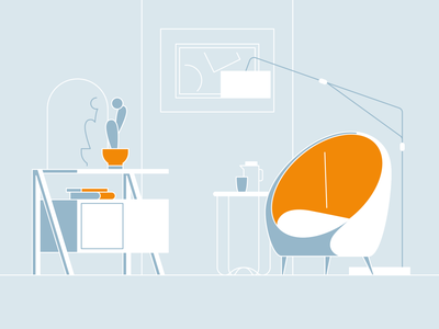 living space 03 table tea table couch livingroom livingspace vector illustration dailyui icon minimal
