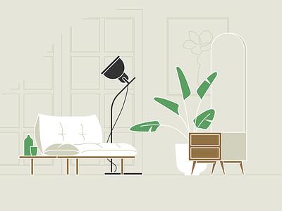 Living space 04 organic minimalism couch lighting plants livingspace livingroom vector illustration design icon minimal