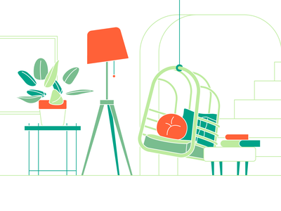 living space 05 swing plants lighting livingroom livingspace dailyicon vector illustration design icon minimal