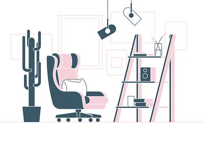 living space 06 bookshelf lighting plant chair livingroom livingspace dailyicon vector illustration design icon minimal