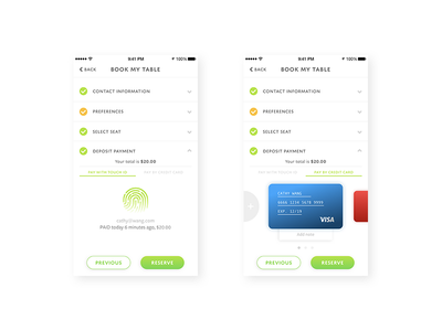 TABLES Payment options credit card finger print payment ux ui mobile reservation restaurant tables
