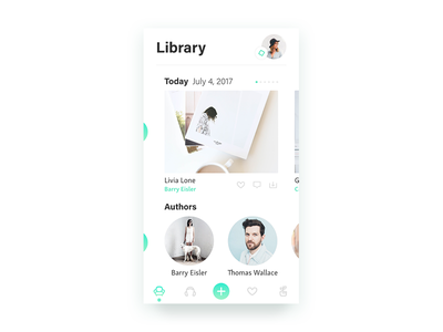 Library icons scroll authors books read ux ui mobile