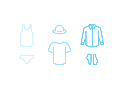 Muji style icons hat shoes shirts inner ware apparel design minimal muji icons