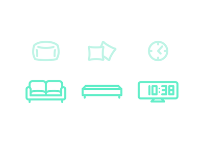 Muji style icons icons clock furniture sofa pillows bedding minimal muji