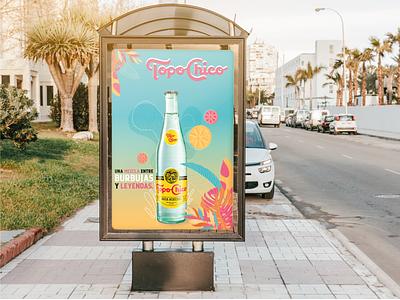 TopoChico - branding beverage summer illustration publicity digital mockup branding graphic design design