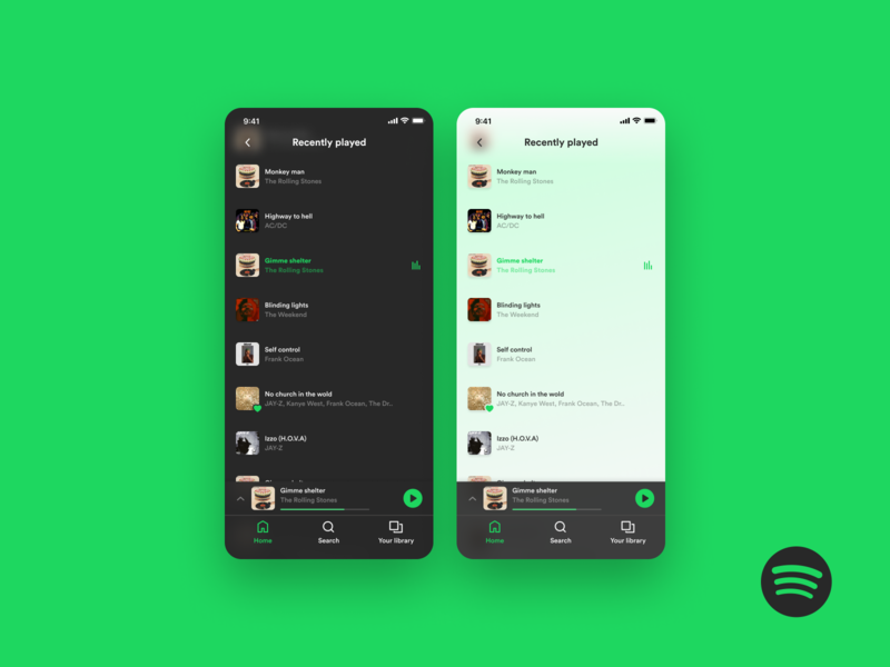 Spotify – Light mode dark mode light mode music app music player playlist spotify icons dark ui branding ios apple app ui design