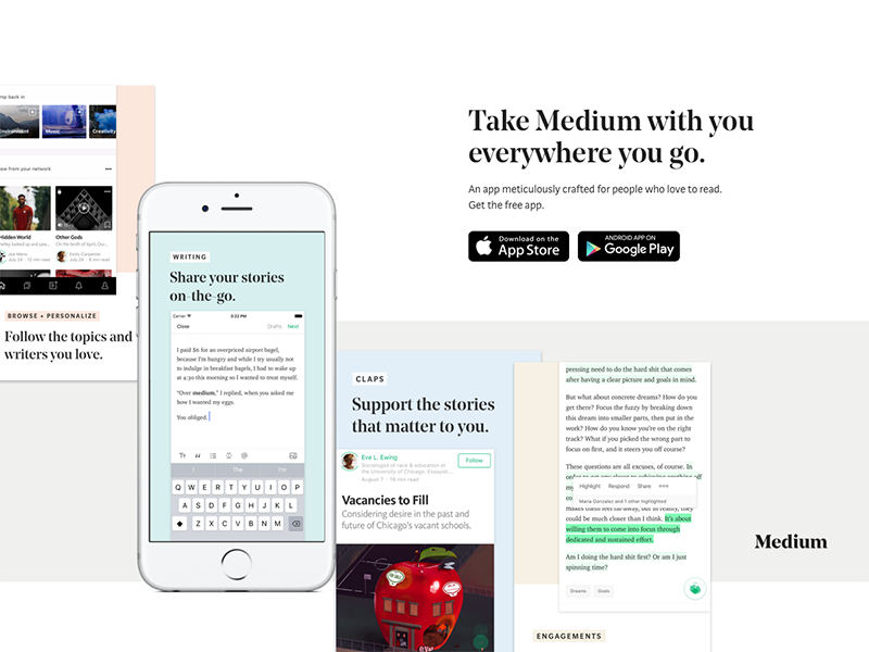 Download Medium App by Darshita Mistry for Medium on Dribbble