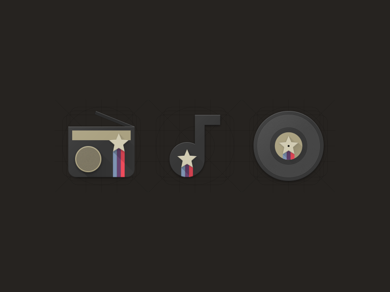 Disco Star Mini Icon Set star radio music retro disco icon icons material design