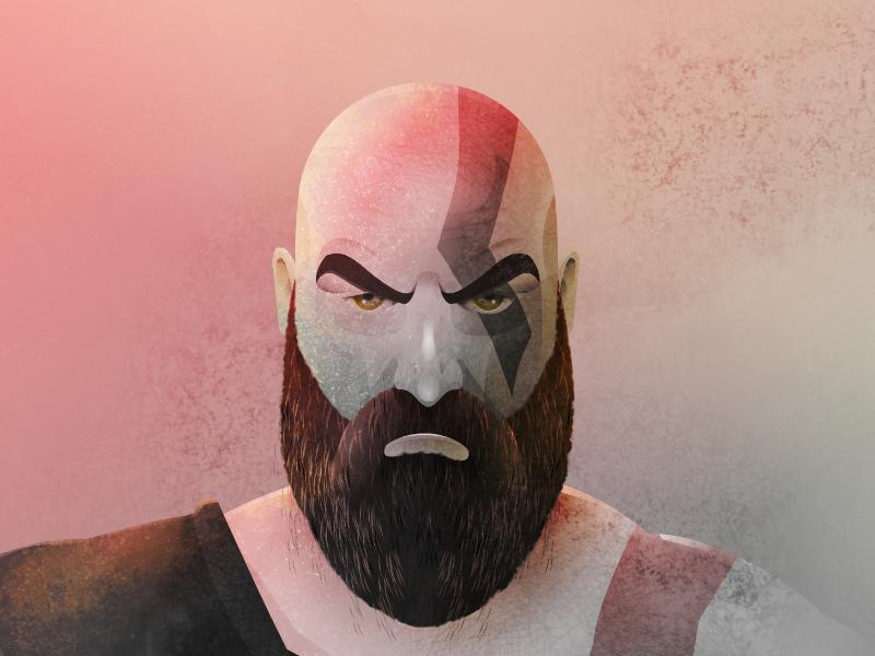 Kratos portrait illustration games character affinity ps4 god of war kratos