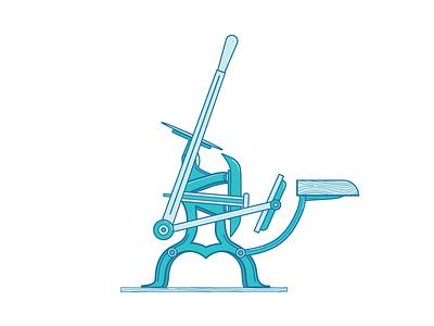 C&P Pilot Illustration chandler and price monochromatic illustration vector machine letterpress