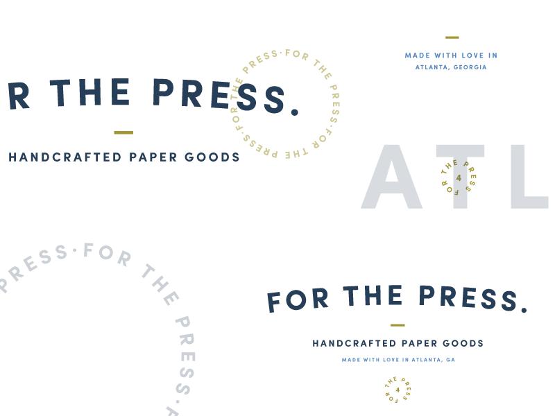 For The Press Branding Elements side project blue typography badge logo letterpress branding