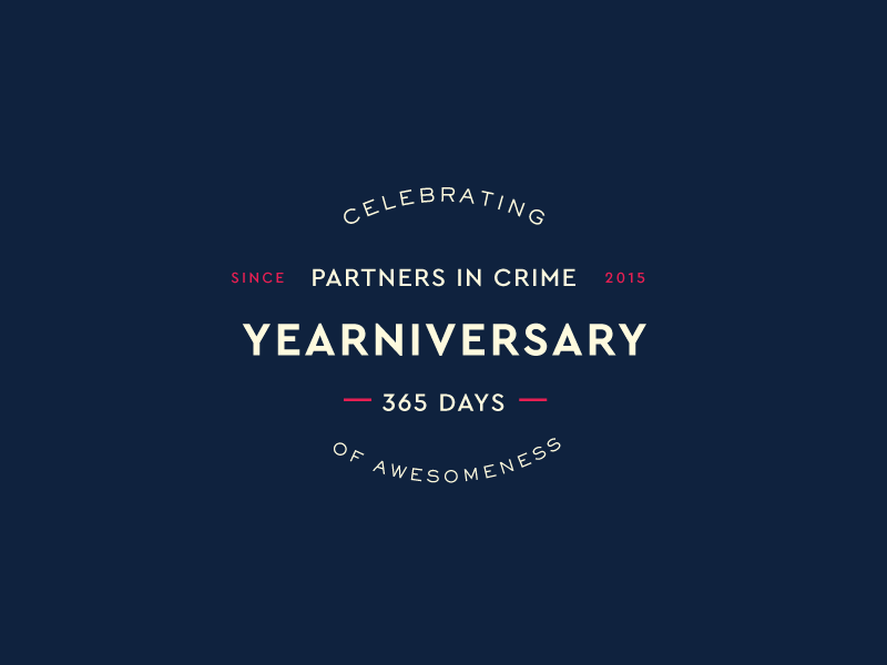 Yearniversary Badge  lock up pink navy 365 type typography celebrate anniversary badge