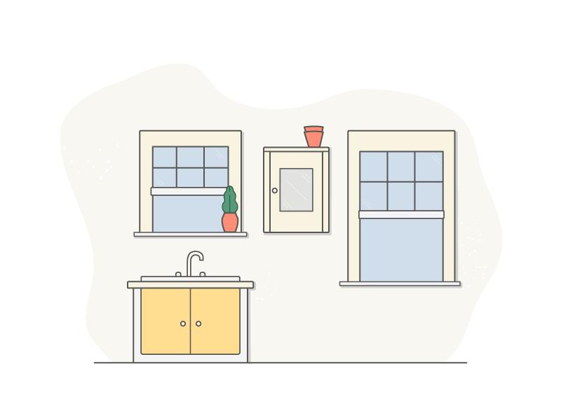 Kitchen Illustration windows plant line vector mustard practice kitchen illustration