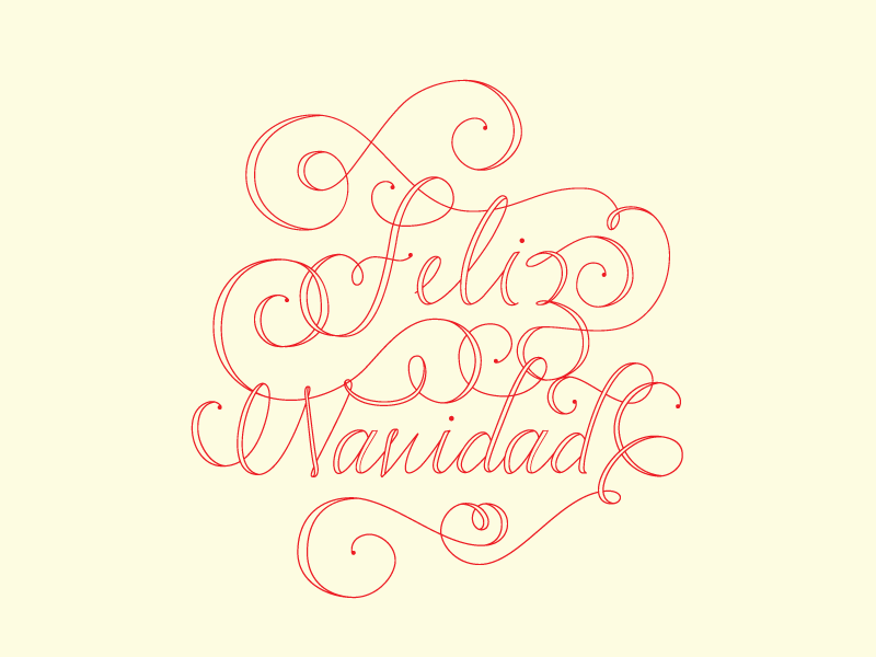 Feliz Navidad!  red typography type vector lettering feliz navidad christmas