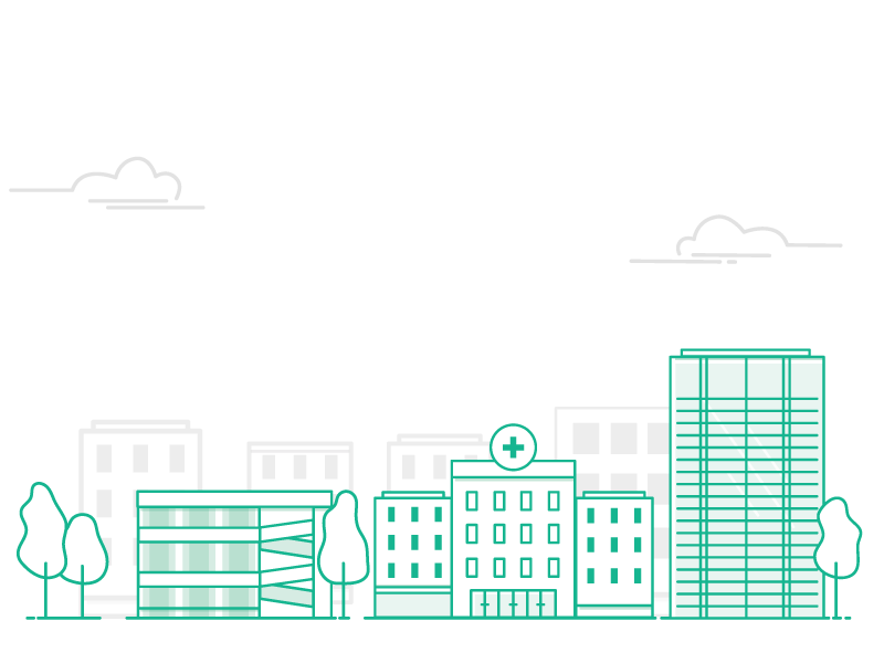 Illustrations for DIG site city illustration monochromatic green buildings vector