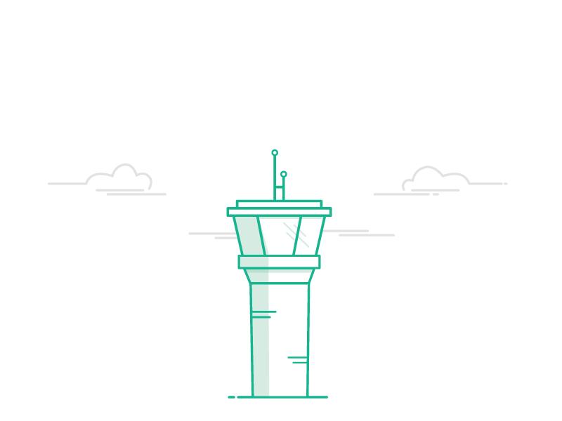 Control Tower  spot illustrations site monochromatic vector green illustration