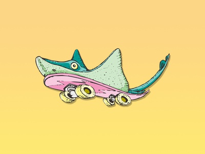 Skate   stalefish kick flip artwork olly board deck fish skateboarding skate