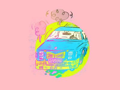Vroom cars vintage texture illustrator doodle sketch drawing illustration