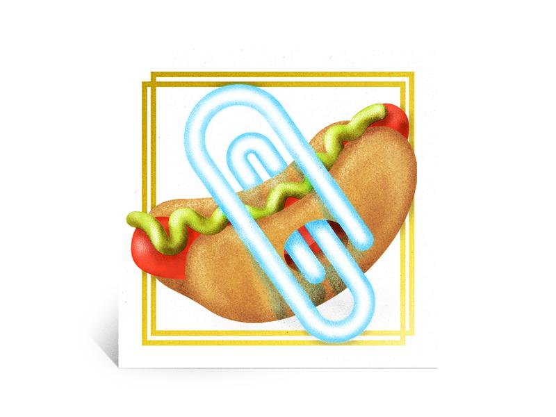 Hot Dog 90s 80s vintage airbrush texture color photoshop illustrator illustration junkfood hotdog