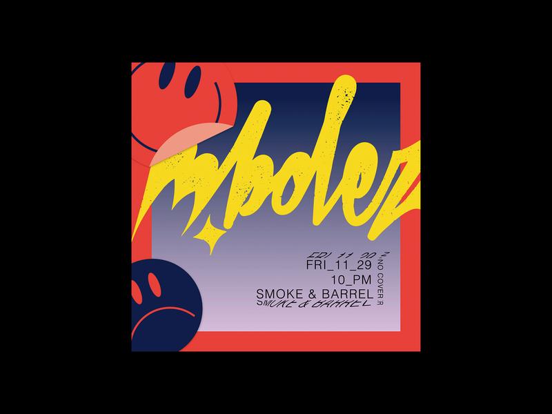 m.bolez Flyer vintage 90s illustrator photoshop rave flyer dj flyer