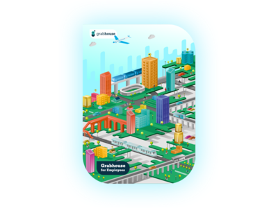 Brochure Cover Design | Grabhouse city view isometric visual design graphic design brochure