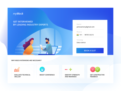 Mock Interview Landing page UI concept