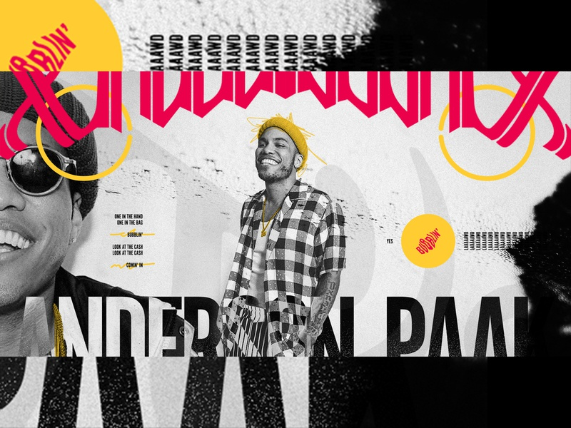 BUBBLIN' scribbles exploration music anderson paak yellow bubblin texture outside the box black and white ui ux design layout exploded grid typography grid