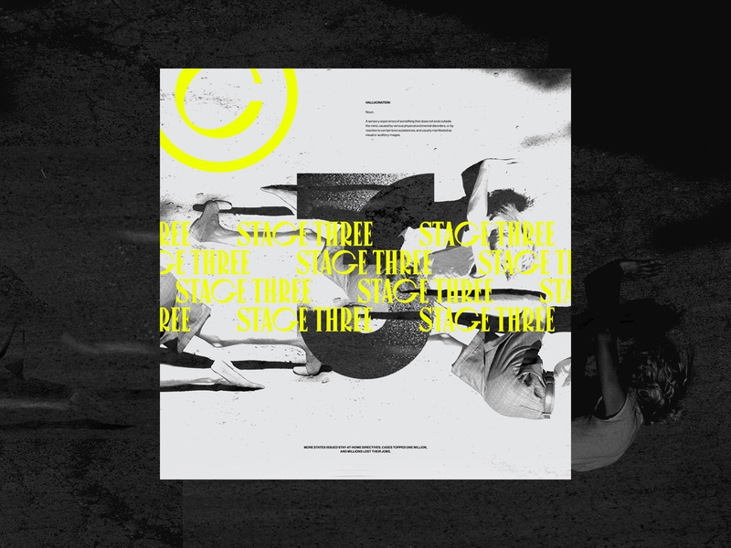 STAGE 3 grid layout three neon exploration black and white outside the box dark ui ux design layout web design exploded grid typography grid