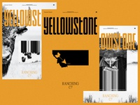 YELLOWSTONE yellowstone ranch montana buffalo cowboy western yellow exploration black and white outside the box ui ux design layout web design exploded grid typography grid