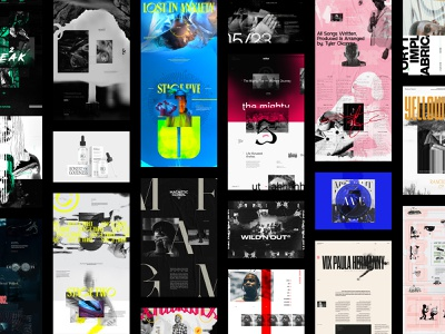 BITS & PIECES exploration black and white outside the box design ui ux layout web design exploded grid typography grid