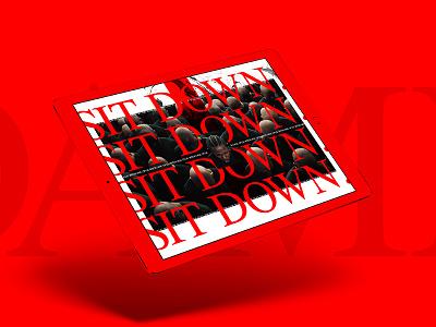 Sit Down. kung fu kenny outside the box sit down serif music grid clean red kendrick lamar damn web design ui ux