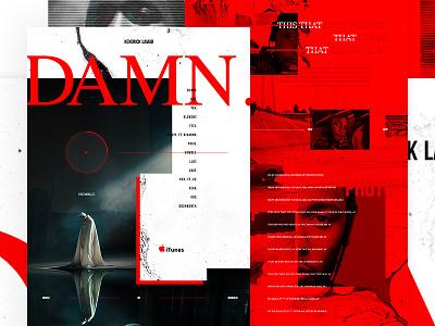 DAMN. kung fu kenny outside the box sit down serif music grid clean red kendrick lamar damn web design ui ux